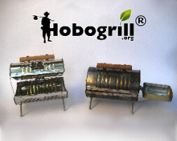 Hobogrill, tiny bbq grill made from recycled materials